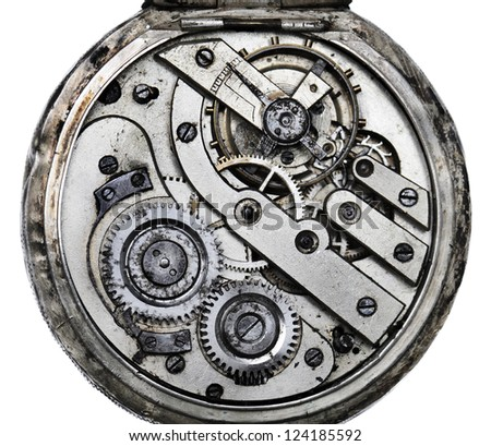 Vintage pocketwatch mechanism closeup - stock photo