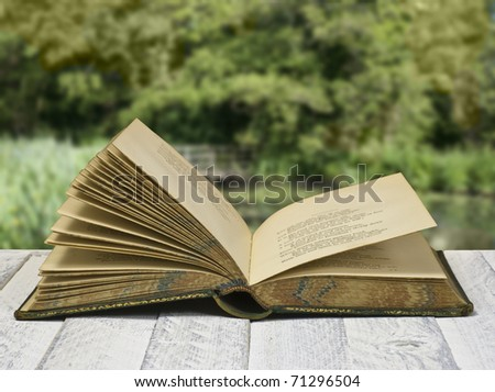 Vintage poetry book open, against rural view - stock photo