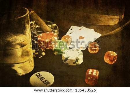 vintage poker conceptual image with card and gamble chip - stock photo