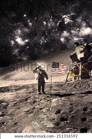 Vintage Polaroid  - Astronaut with Flag On the Moon - Elements of this Image Furnished by NASA - stock photo