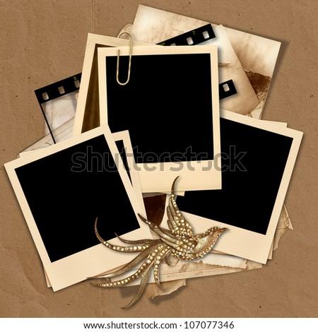 Vintage polaroid frame with space for text or photos - stock photo