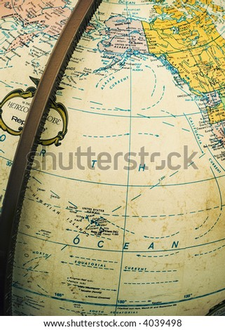 Vintage political Earth globe showing Pacific Ocean and parts of North America and East Asia - stock photo