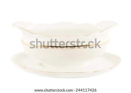 Vintage porcelain sauce bowl isolated - stock photo