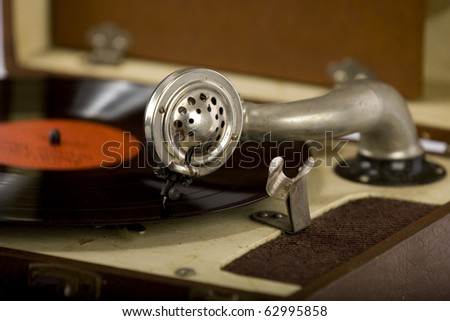 Vintage portable record record player - stock photo