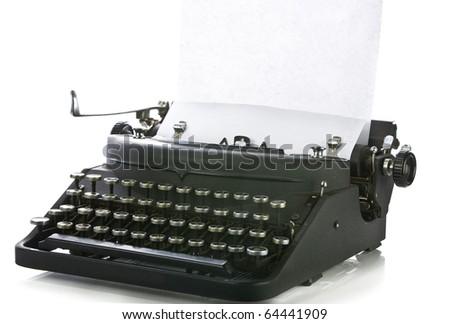 Vintage portable typewriter with paper on white. - stock photo