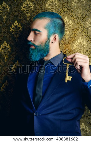 Vintage portrait of a handsome man with blue beard.  - stock photo