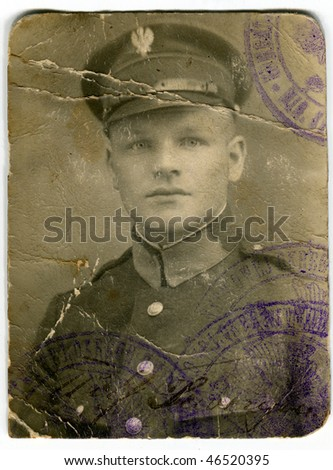 Vintage portrait of a soldier - stock photo