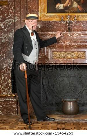 "Vintage portrait of a victorian gentleman. Shot in the antique castle ""Den Brandt"" in Antwerp, Belgium (with signed property release for the Castle interiors). - stock photo"
