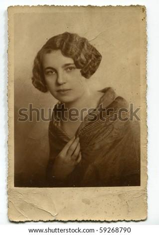 Vintage portrait of a woman - stock photo