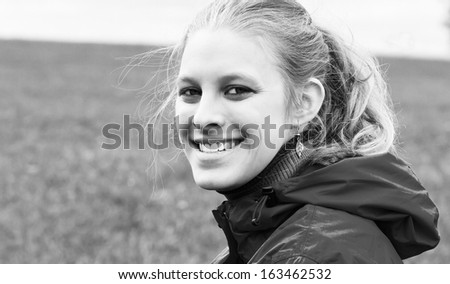 Vintage portrait of a young, natural woman - stock photo