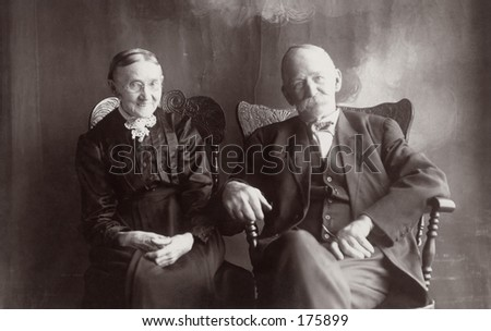 Vintage portrait of an older couple - stock photo