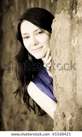 Vintage portrait of beautiful woman - stock photo