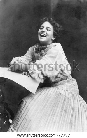 Vintage portrait of laughing woman - stock photo