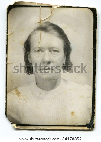 Vintage portrait of mature woman (about forties) - stock photo