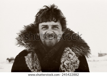 Vintage portrait of soviet gold-prospector taken in tundra on Chukchi Peninsula in 1979 - stock photo