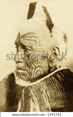 Vintage Portrait Of Tattooed Man - stock photo