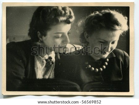 Vintage portrait of two women - stock photo