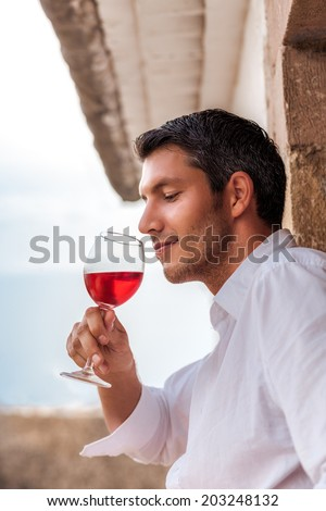 vintage portrait of wine taste in spain italy france - stock photo