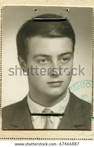 Vintage portrait of young boy (fifties) - stock photo
