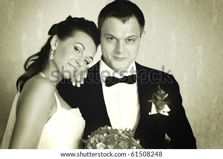 vintage portrait of young couple - stock photo
