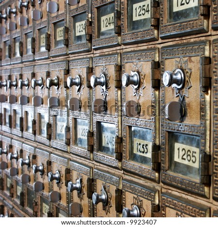 vintage post office boxes - stock photo