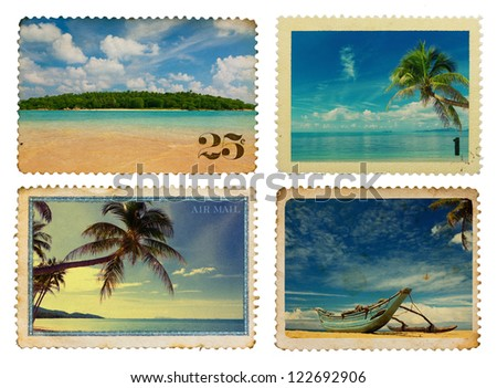 Vintage postage stamps with tropical palms and island - stock photo