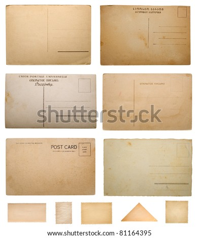 vintage postcard and stamp collection - stock photo