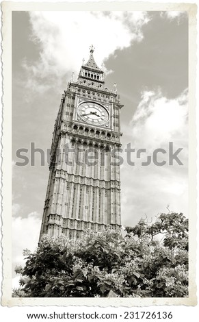 Vintage postcard depicting an architectural detail of the famous Big Ben in London - stock photo