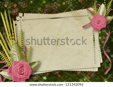 Vintage postcard for congratulation with roses and ribbons - stock photo