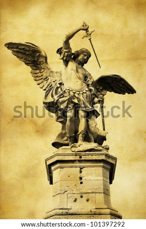 Vintage postcard (immitation) with Saint Michael in Rome - stock photo