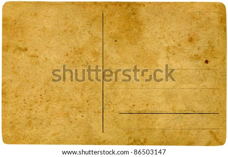 Vintage postcard isolated on white background.