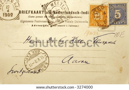 Vintage postcard of 1902 sent in the Dutch Indies (former colonial Indonesia) with address in Switzerland