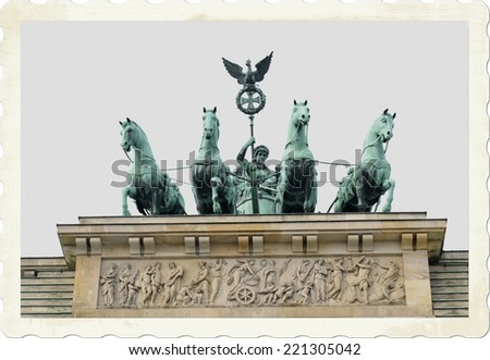 Vintage postcard of the Brandenburger Tor in Berlin, Germany - stock photo