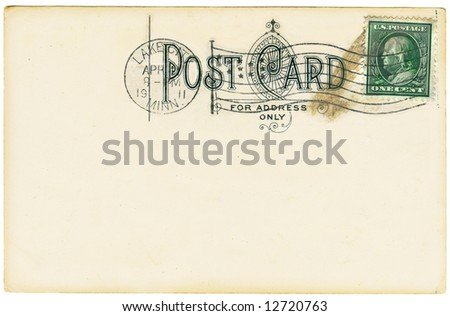 Vintage postcard with a one cent stamp. Room to add your own message. - stock photo