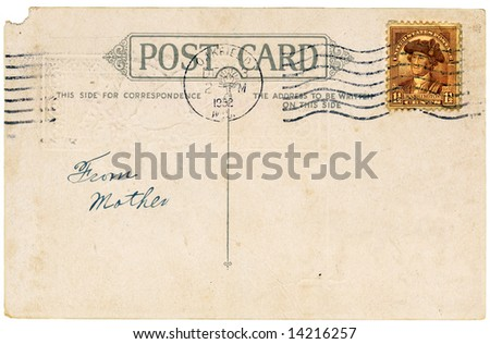 Vintage postcard with a stamp. Room to add your own message. - stock photo