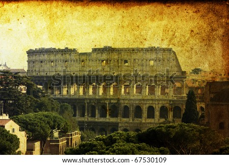 Vintage postcard with Colosseum, Rome, Italy - stock photo