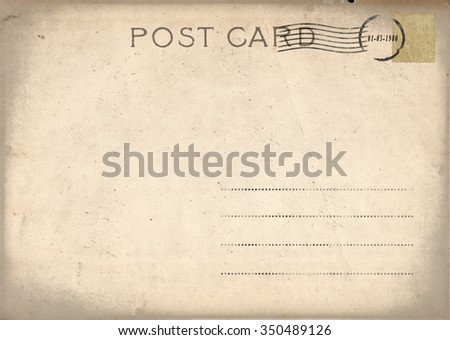Vintage postcard with stamp - stock photo