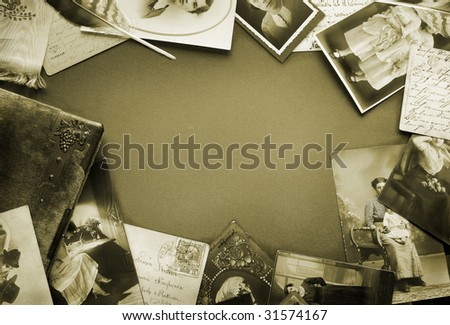 Vintage postcards and photo bordering in sepia tone - stock photo