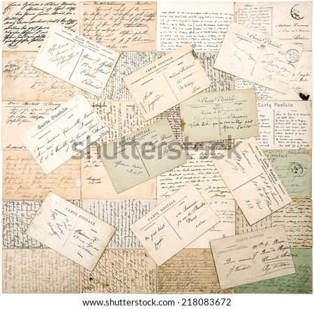 vintage postcards. old handwritten undefined texts from ca. 1900. grunge retro style papers background