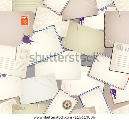 Vintage postcards seamless pattern. No vector - stock photo