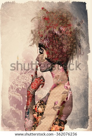 Vintage poster girl - stock photo