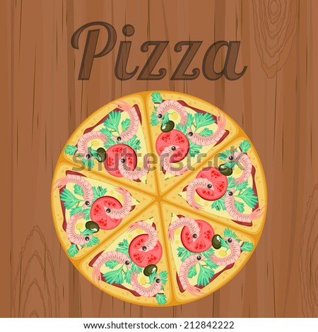 Vintage poster with detailed pizza with shrimps over wood - stock photo