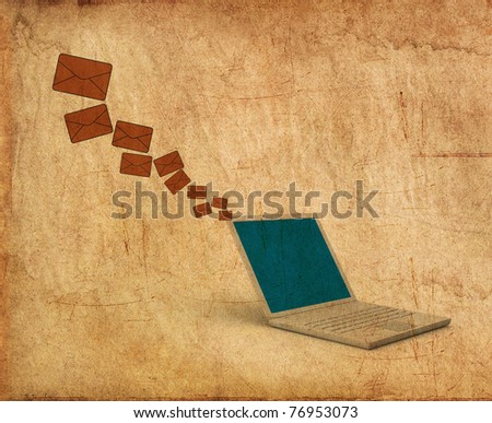Vintage Print of Laptop sending email - stock photo