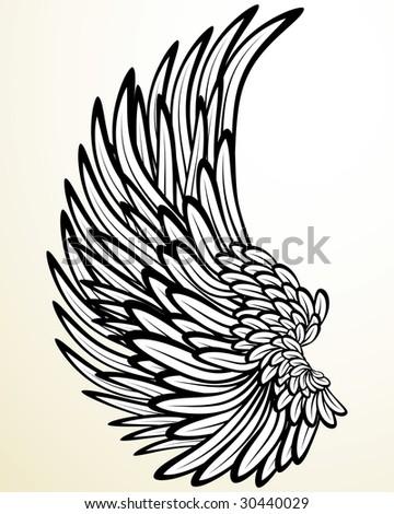 Vintage print: wing (version vector 24860758) - stock photo