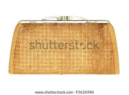 Vintage purse isolated on white background - stock photo