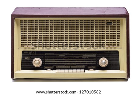 vintage radio antique isolated on white background