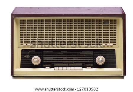 vintage radio antique isolated on white background - stock photo