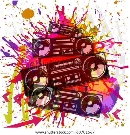 Vintage radio cassette recorder grunge background