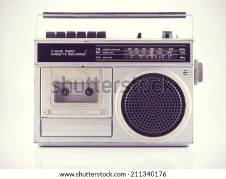 Vintage Radio isolate on white ,retro technology - stock photo