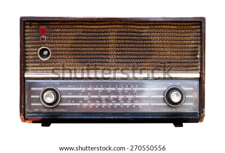 Vintage Radio isolate on white ,retro technology
